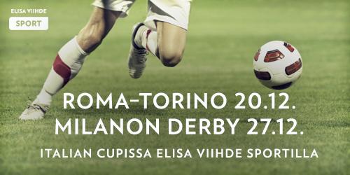 Elisa Viihde Sportilla nähdään Italian Cupin kaikki ottelut puolivälieristä alkaen. Keskiviikkona 20.12. on luvassa Roman ja Torinon neljännesvälieräkohtaaminen, joka nähdään Elisa Viihde Sport 1:llä klo 18.20 alkaen.