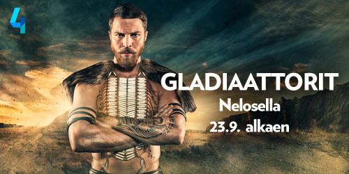 Lauantai-iltana klo 19.30 starttaa Gladiaattorit, jossa nähdään heti ensimmäisestä jaksosta alkaen huikeita kaksinkamppailuja huippuunsa treenattujen gladiaattoreiden ja toiveikkaiden kilpailijoiden välillä.