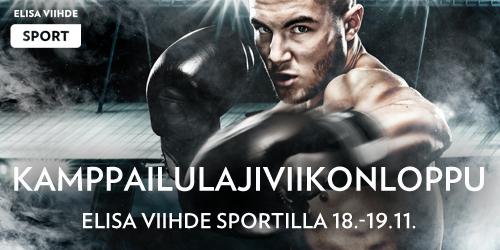 Elisa Viihde Sportin viikonloppu on täynnä adrealiinia. 18.11. on luvassa vapaaottelun Fight Night Finland 15 klo 17.50 alkaen ja 19.11. nähdään nyrkkeilyn Tammer Turnaus klo 13.50. Katso molemmat turnaukset Elisa Viihde Sport 2:lla.