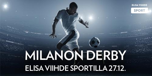 Elisa Viihde Sportilla nähdään tänään klassikkokohtaaminen kun Milanon kärkijoukkueet AC Milan ja Inter Milan kohtaavat Italian Cupissa. Katso ottelu Elisa Viihde Sport 1:llä 27.12. klo 21.35 alkaen.