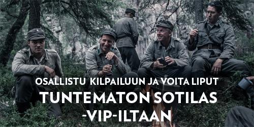 Osallistu arvontaan ja voita paikat kahdelle Elisa Kulmassa järjestettävään Tuntematon sotilas -VIP-iltaan torstaina 15.2.2018. Illan aikana pääset tutustumaan tarkemmin elokuvan tekoon ja tapaamaan elokuvan tekijöitä ja näyttelijöitä.