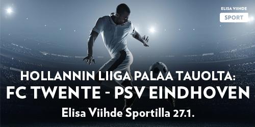 Hollannin liiga palaa tauolta Elisa Viihde Sportille ja heti on luvassa suomalaisittain jännittävä kamppailu kun sarjan kärkijoukkue PSV Eindhoven ottelee FC Twenteä ja sen suomalaiskolmikkoa vastaan.