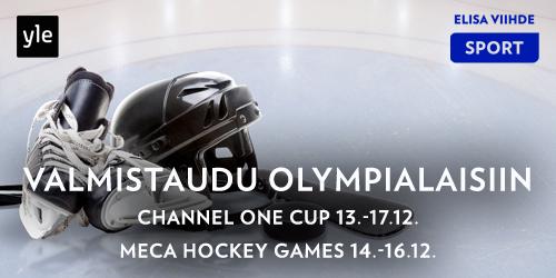 Tällä viikolla lätkäfanit pääsevät spekuloimaan tulevia Olympiatuloksia, kun maaotteluita pelataan Venäjällä. Katso Channel One Cupin Suomen ottelut Yle TV2:lla 13.-17.12. ja MECA Hockey Games Elisa Viihde Sport 1:llä 14.-16.12.