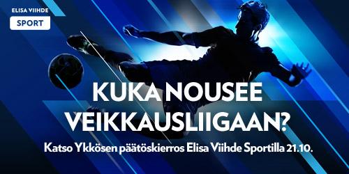 Lauantaina 21.10. Elisa Viihde Sportilla nähdään Ykkösen päätöskierros, jossa FC Honka ja TPS taistelevat mestaruudesta. Jännittävän ottelun voittajajoukkue nähdään ensi kaudella Veikkausliigassa.